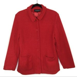 Sandro Red Textured Button Up Teddy Bear Jacket